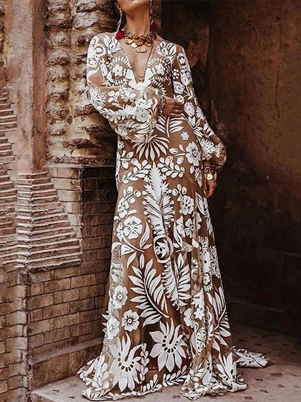 Print Floor-Length Long Sleeve Plant Standard-Waist Dress