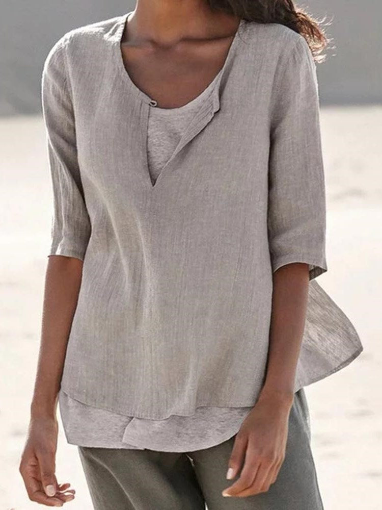 Half Sleeve Standard Color Block Casual Loose T-Shirt