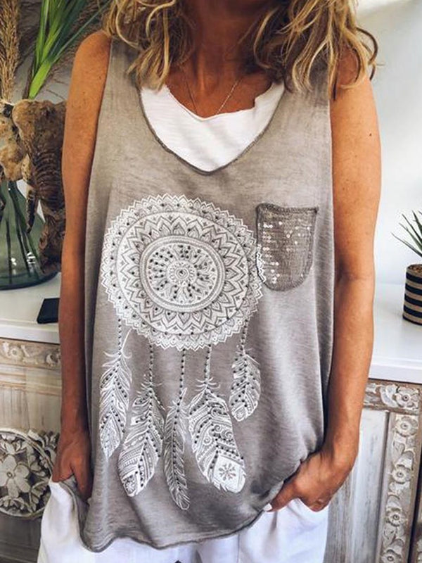 Polyester I-Shaped Print Mid-Length Tank Top