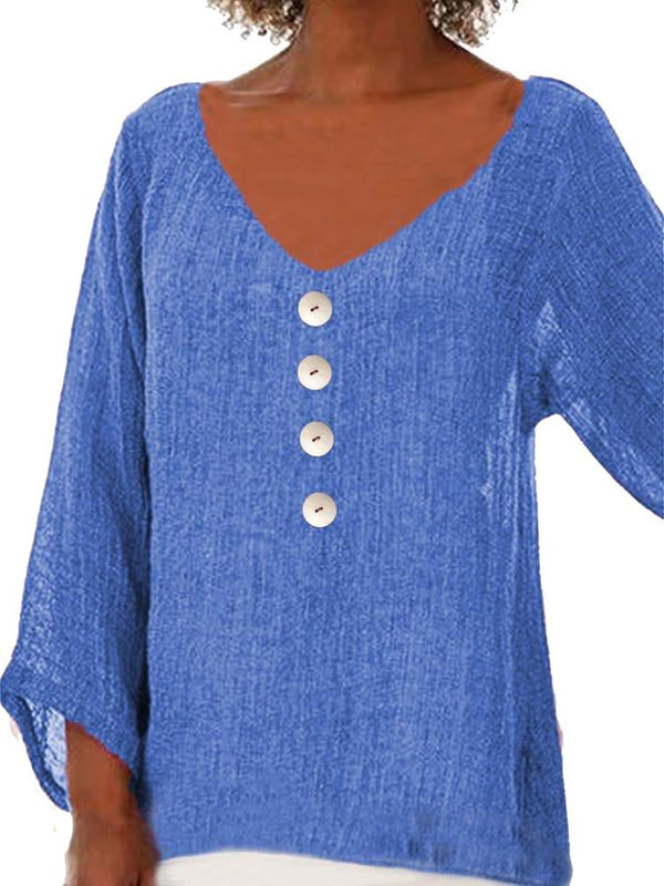 Plain V-Neck Button Nine Points Sleeve Mid-Length Blouse