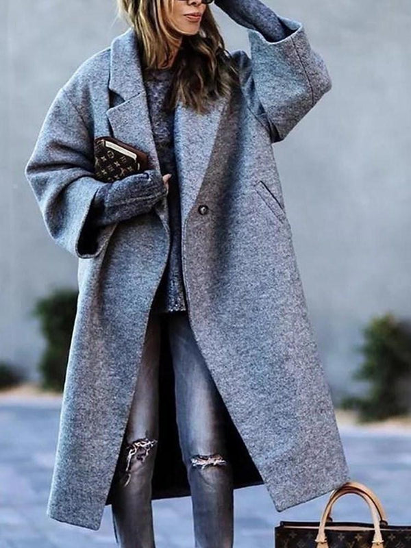 One Button Regular Loose Long Notched Lapel Overcoat