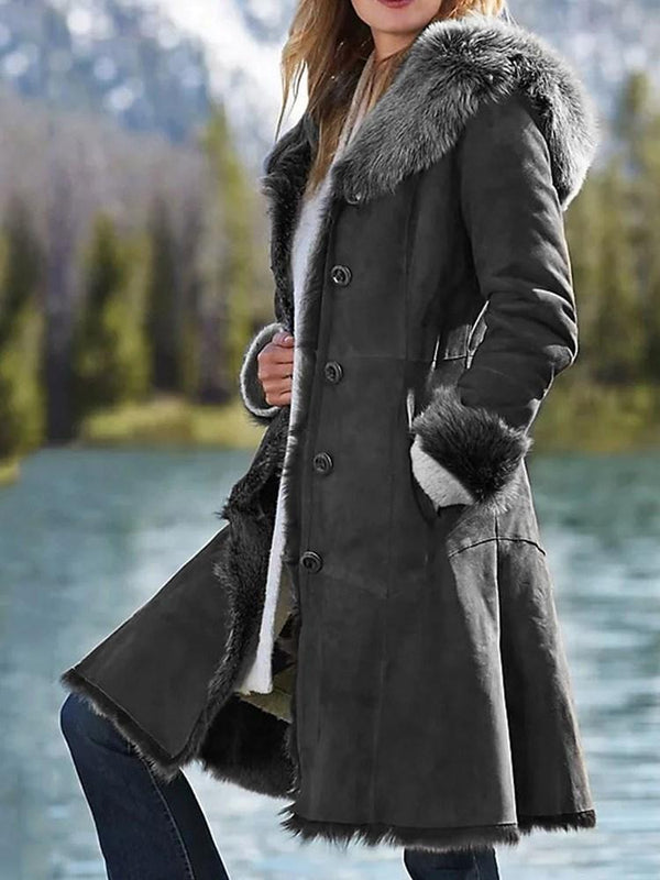Single-Breasted Regular Loose Hooded Mid-Length Overcoat