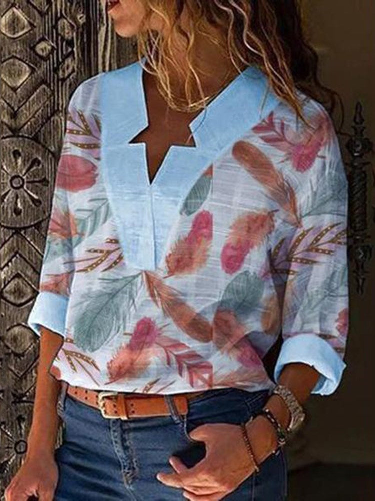 Print V-Neck Color Block Long Sleeve Mid-Length Blouse