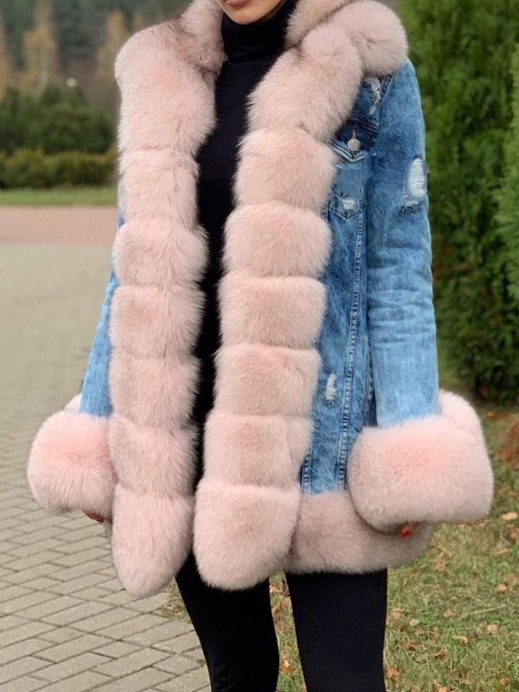 Regular Mid-Length Color Block Thick Loose Faux Fur Overcoat