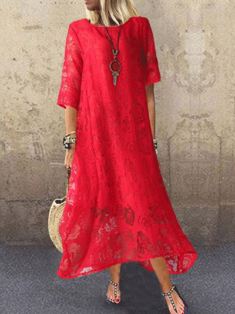 Three-Quarter Sleeve Ankle-Length Print Casual Pullover Dress