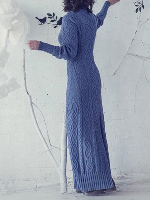 Long Sleeve Floor-Length Turtleneck Winter Pullover Dress