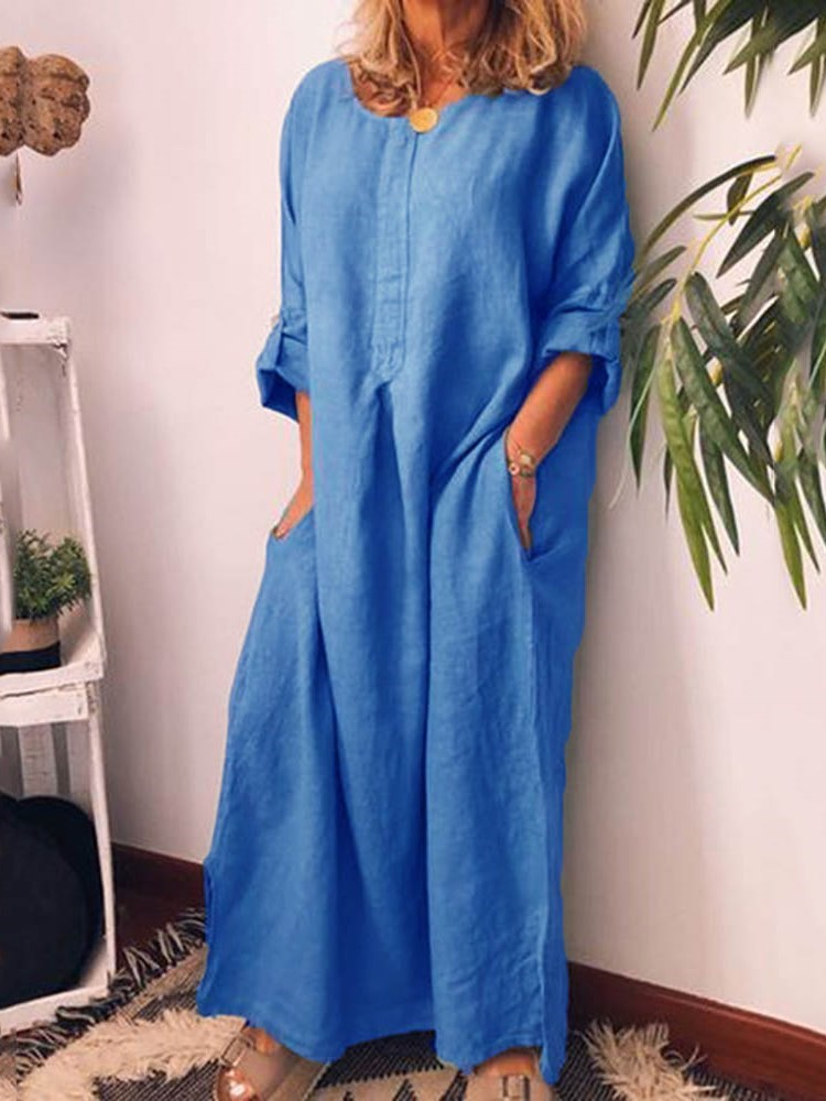 Ankle-Length Long Sleeve Round Neck Pullover Casual Dress