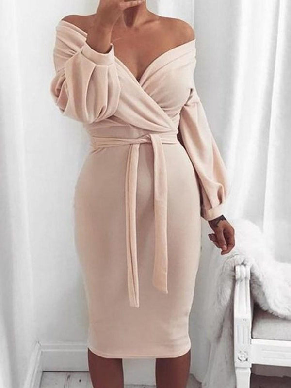 Mid-Calf V-Neck Long Sleeve Lantern Sleeve Party/Cocktail Dress