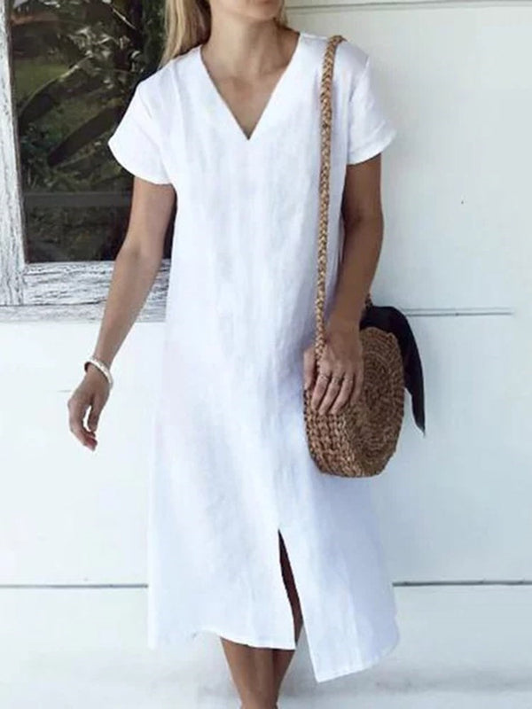 Split Short Sleeve V-Neck Plain Casual Dress