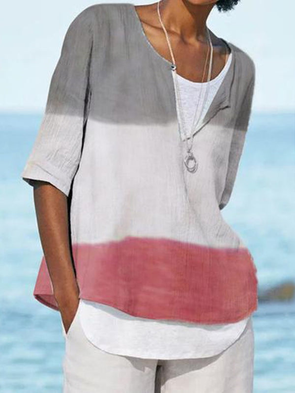 Standard Color Block Half Sleeve Loose Summer T-Shirt