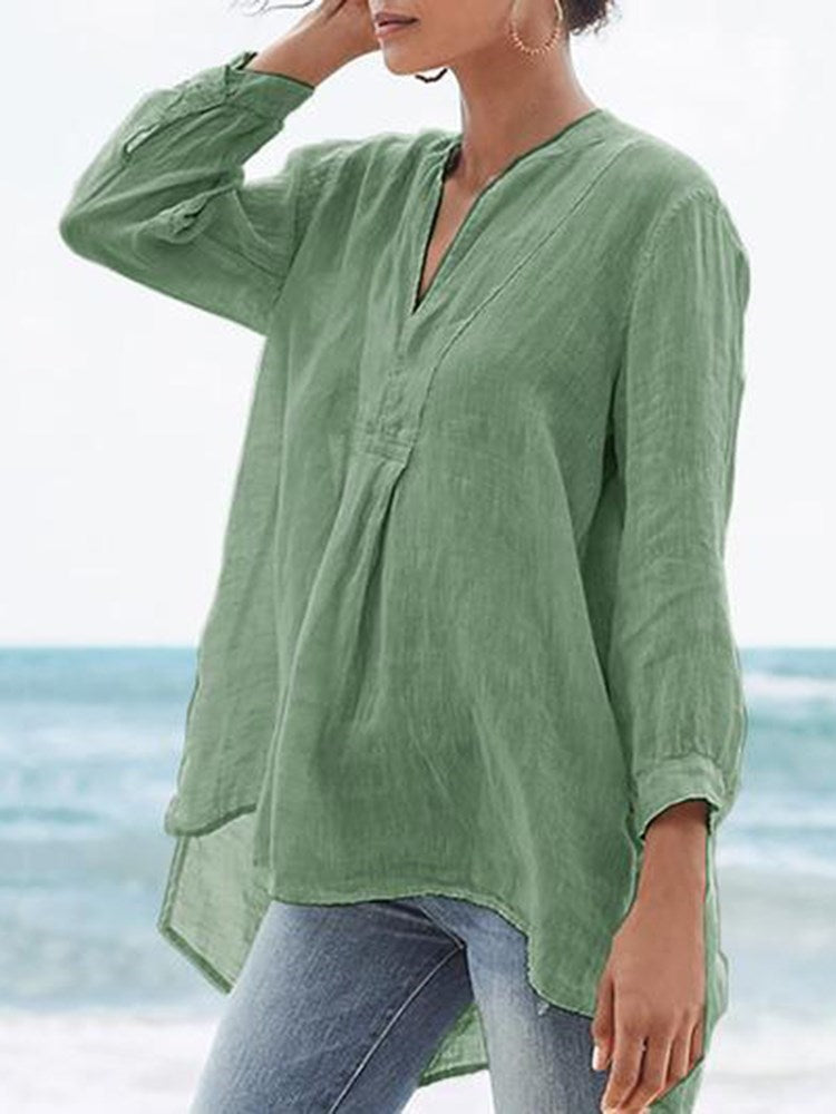 Asymmetric Plain V-Neck Nine Points Sleeve Mid-Length Blouse