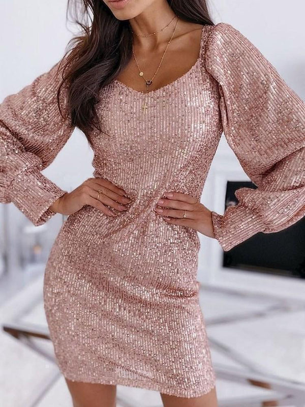 Sequins V-Neck Above Knee Bodycon Lantern Sleeve Dress