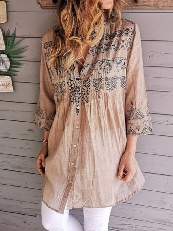 Regular Color Block Print Mid-Length Three-Quarter Sleeve Blouse