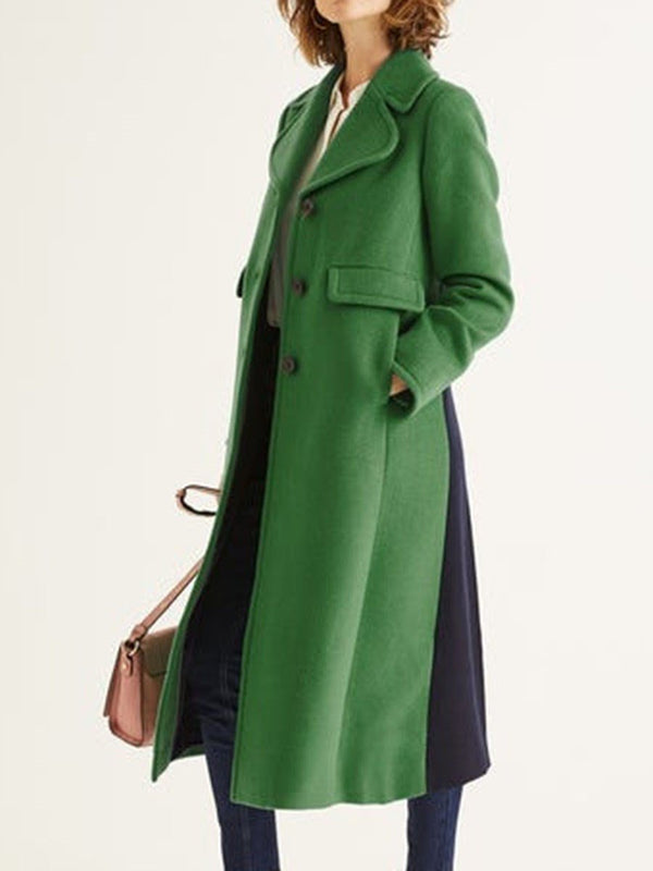 Regular A Line Single-Breasted Long Notched Lapel Overcoat