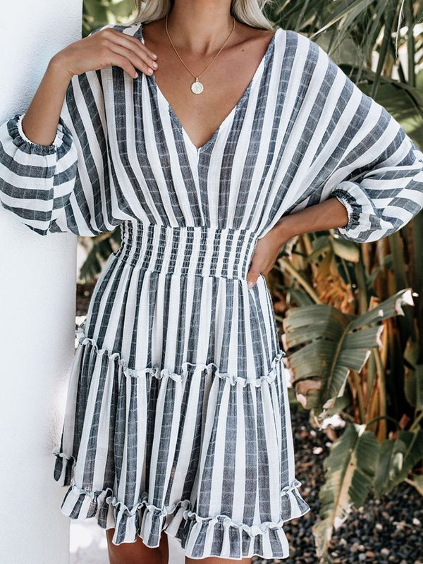 Three-Quarter Sleeve Above Knee V-Neck Stripe Pullover Dress