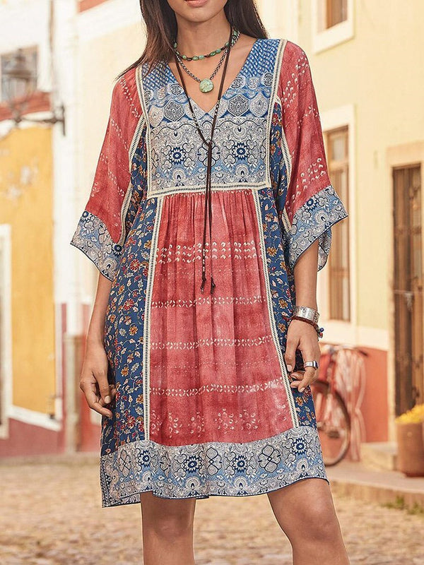 Print Three-Quarter Sleeve Above Knee A-Line Summer Dress