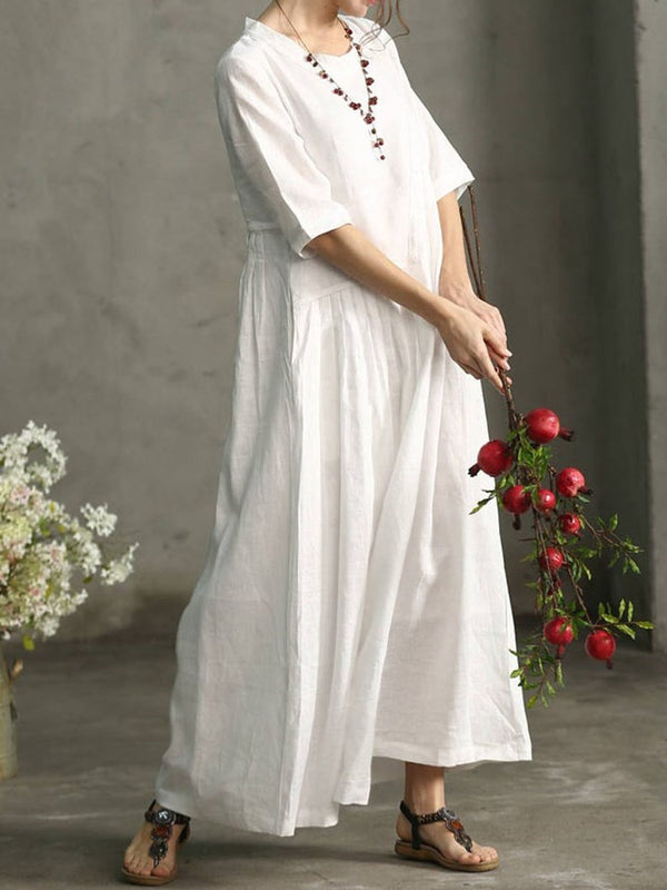Ankle-Length Half Sleeve Pleated Summer Plain Dress