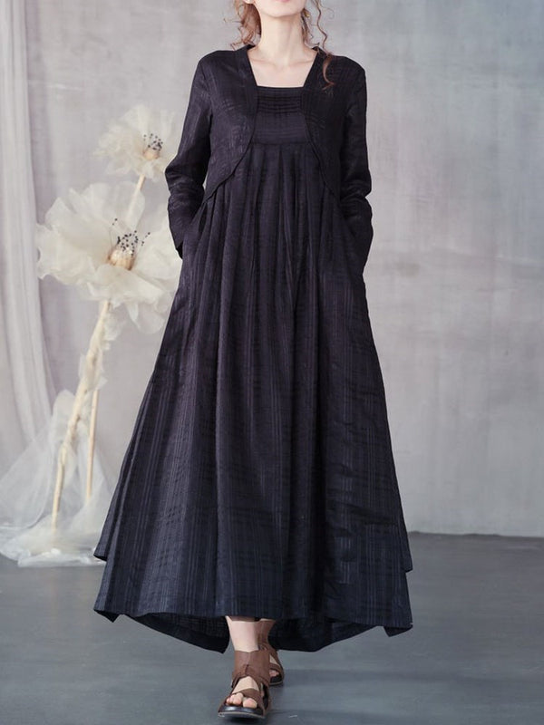 Long Sleeve Asymmetric Ankle-Length Pullover Regular Dress