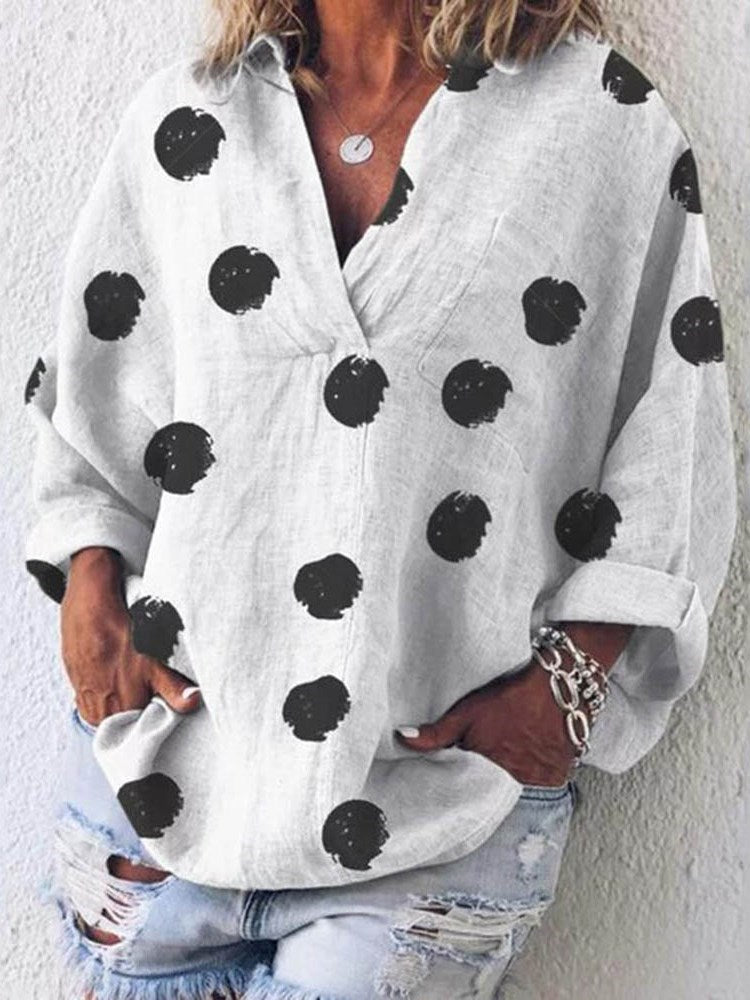 Polka Dots Print V-Neck Standard Long Sleeve Blouse