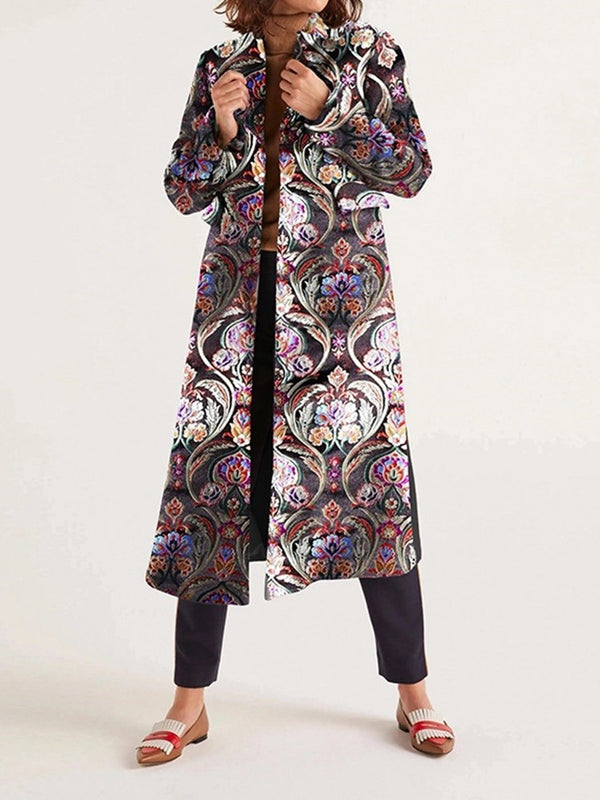 Print Regular Loose Long Overcoat