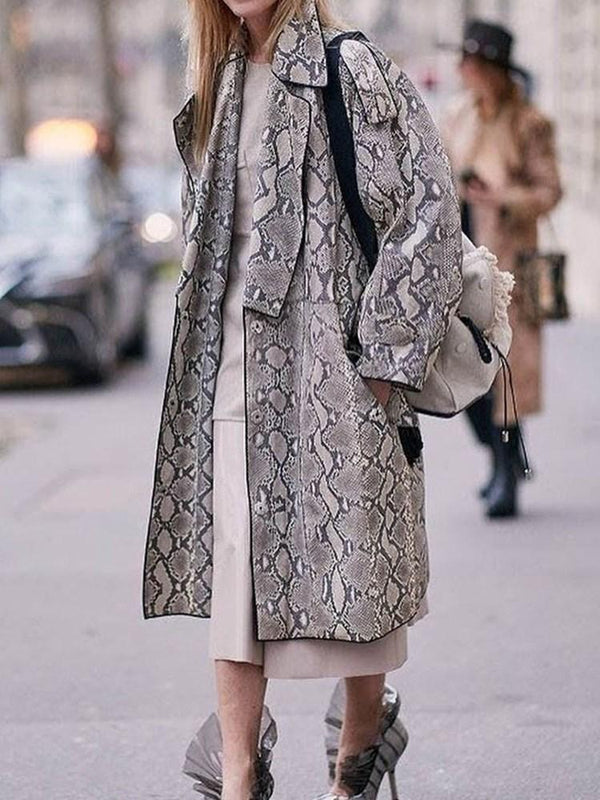 Single-Breasted Print Regular Long Overcoat