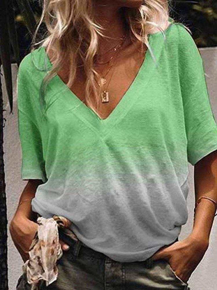 V-Neck Color Block Half Sleeve Loose Summer T-Shirt