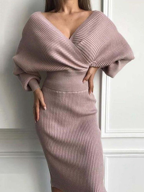 V-Neck Mid-Calf Long Sleeve Pencil Party/Cocktail Dress