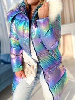 Straight Patchwork Mid-Length Cotton Padded Jacket