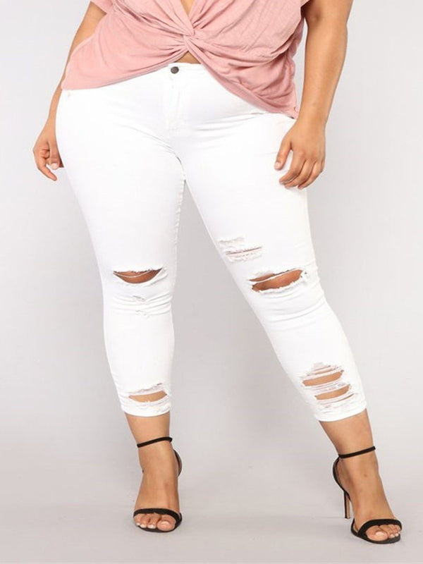 Skinny Hole Plain Mid-Calf Mid Waist Casual Pants