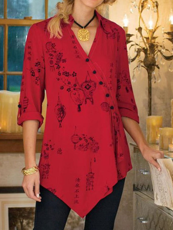 V-Neck Floral Asymmetric Mid-Length Three-Quarter Sleeve Blouse