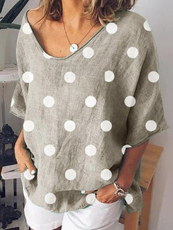 Mid-Length Three-Quarter Sleeve Polka Dots Loose Casual T-Shirt