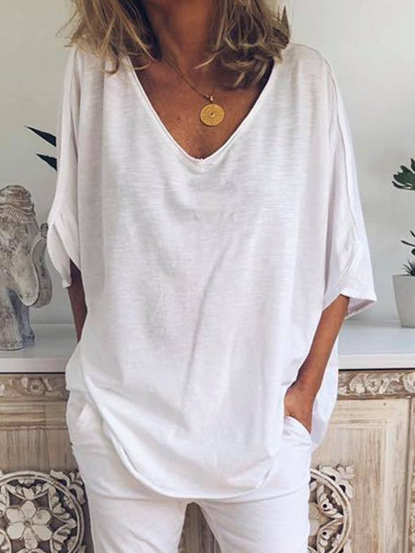 Three-Quarter Sleeve Mid-Length Plain Loose Casual T-Shirt