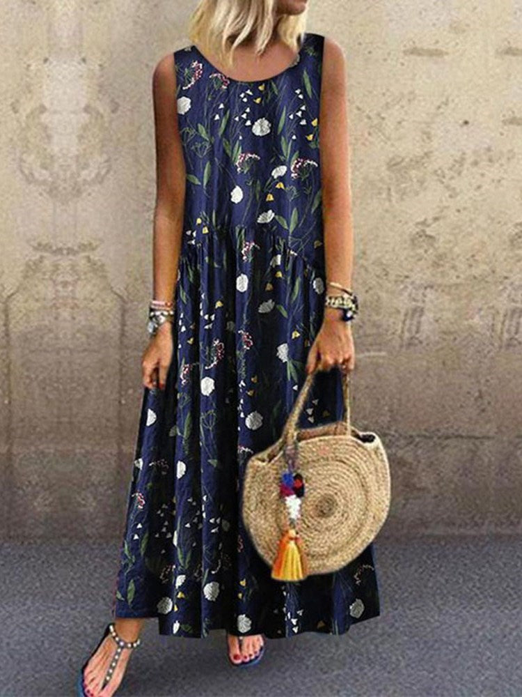 Print Ankle-Length Sleeveless Pullover Casual Dress