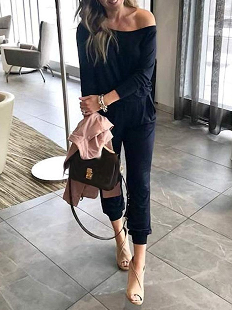 Plain Lace-Up Mid-Calf Loose Mid Waist Jumpsuit