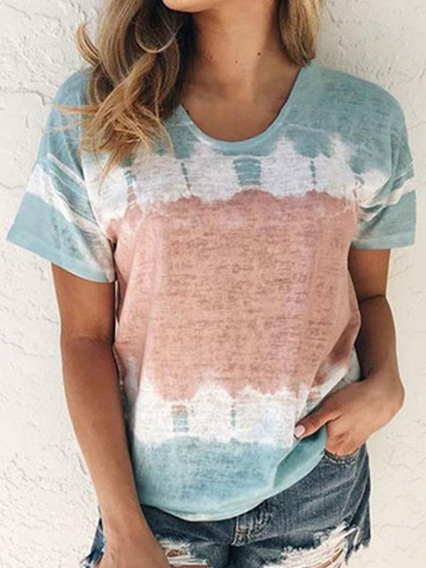Color Block Round Neck Short Sleeve Loose Casual T-Shirt