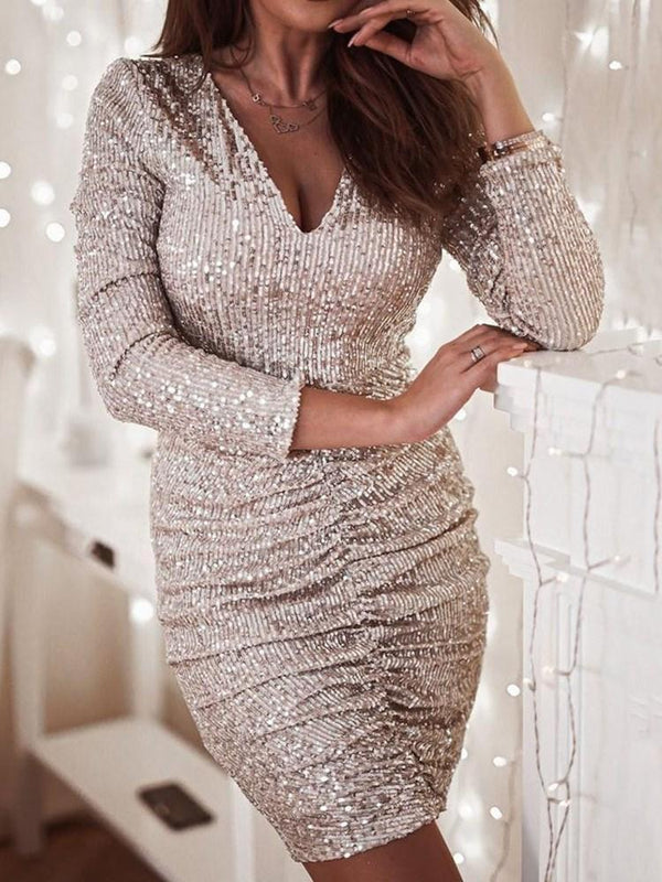 V-Neck Above Knee Long Sleeve Bodycon Pullover Dress