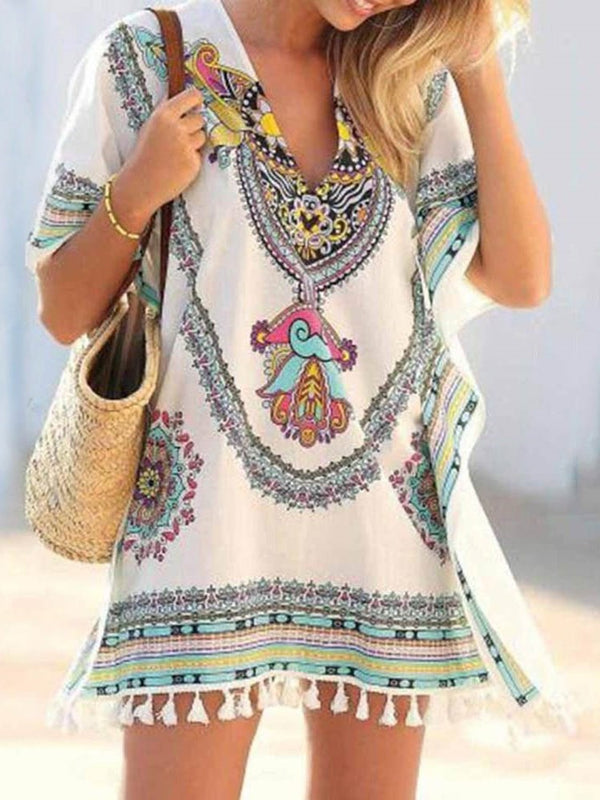 Short Sleeve Tassel Above Knee Casual Geometric Dress