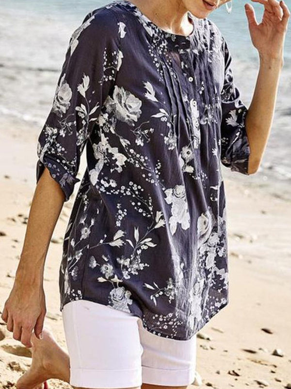 Three-Quarter Sleeve Mid-Length Floral Loose Casual T-Shirt