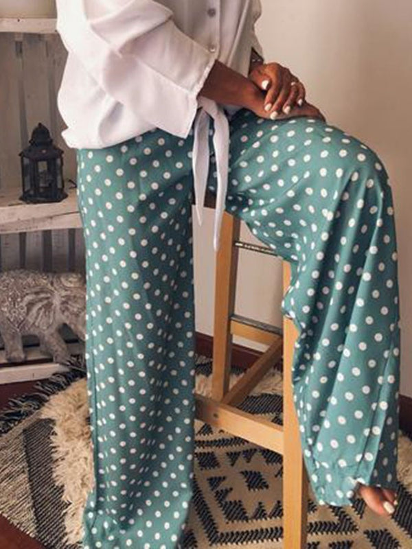 Polka Dots Print Loose Full Length Casual Pants