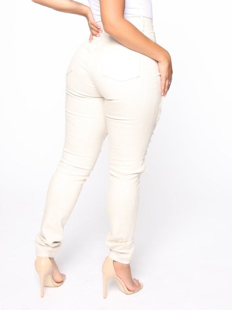 Button Skinny Plain Full Length Casual Pants