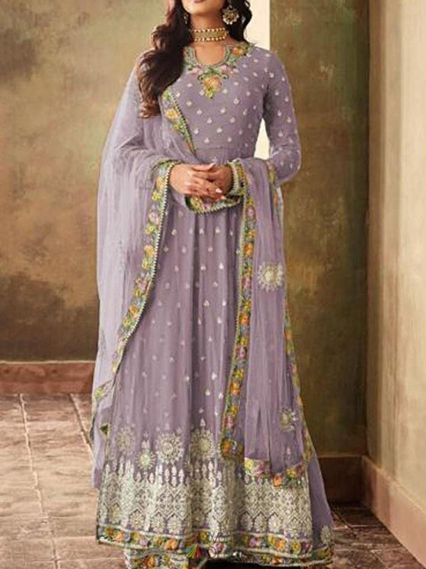 Embroidery Floor-Length Long Sleeve Regular Pullover Dress