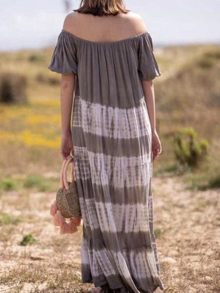 Half Sleeve Off Shoulder Floor-Length Pullover Off-The-Shoulder Dress