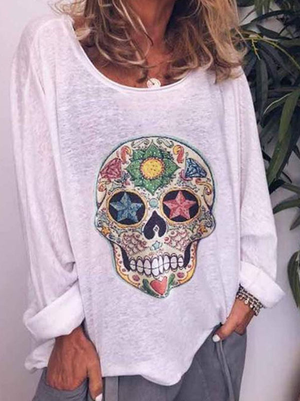 Round Neck Skull Long Sleeve Casual Loose T-Shirt