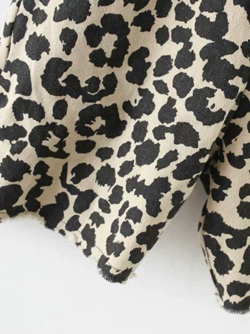 Leopard Shorts Casual Loose Straight Jumpsuit