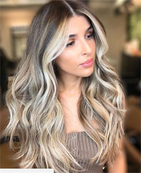 beat hair color for a heart shaped face, ombre, blonde highlights, all over highlights, long beach waves, middle part hair styles