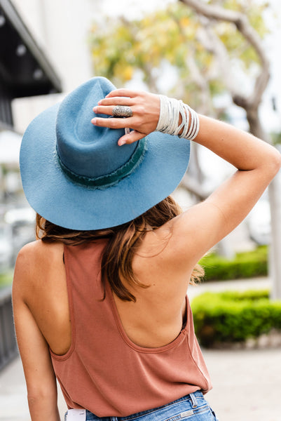 brixton ella fedora, blue felt fedora, hair accessories, summer accessories
