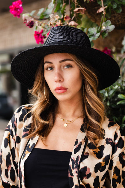 Brixton joanna straw hat, black straw hat, best hairstyles for a oblong face