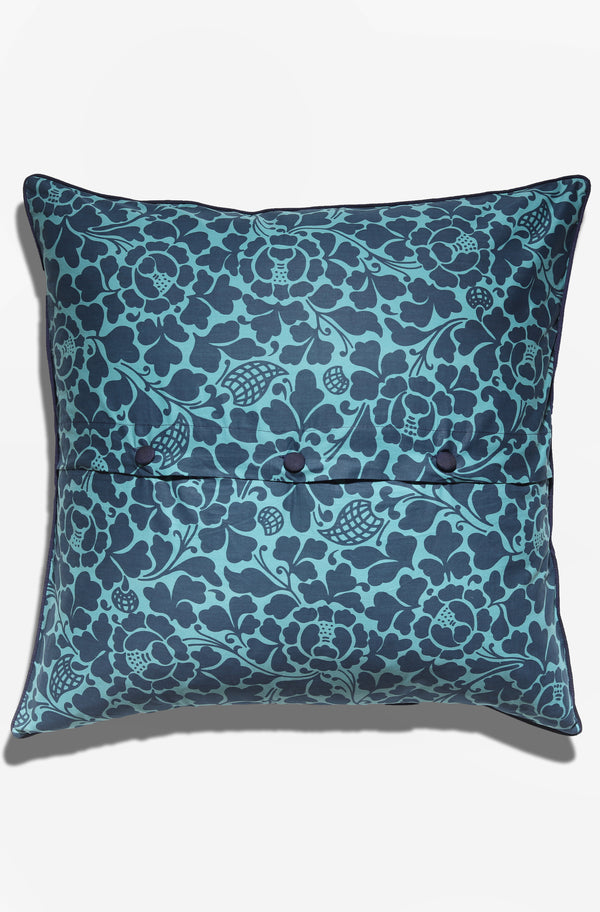 Cushion Cover - Passio Midnight Blue on Teal - GAYA ALEGRIA