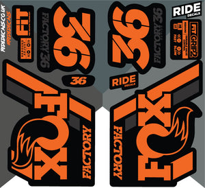 Fox 36 2018 Decals/Stickers -Orange