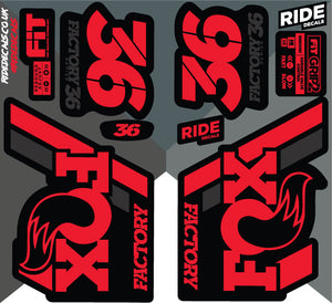 Fox 36 2018 Decals/Stickers -Red